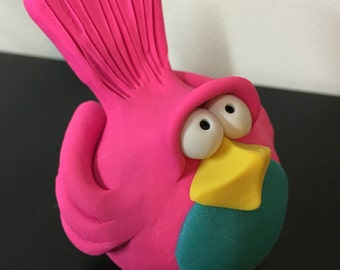 Pink and Teal Polymer Clay Bird