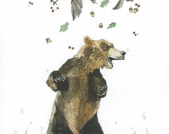 """Advantage of Flight, 8""""x10"""", Watercolour, Art Print, Woodland, Kelly Dixon Art"""