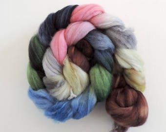 Merino Nylon,Winter Morning Light, handbemalte Fasern zum Spinnen,100g superwash Kammzug