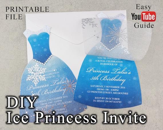 Printable Ice Princess Dress Party Invitation