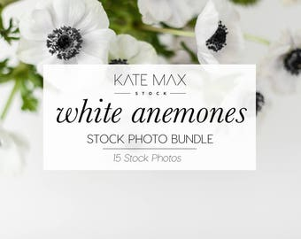Modern Neutrals White and Black Anemones / Styled Stock Photos / 15 KateMaxStock Flower Branding Images for Your Business