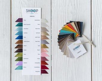 Swatch cards of Shoop Deko fabrics and ribbons - Colors - Ribbons - Fabrics