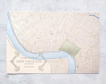 New Orleans Neighborhoods - French Quarter Letterpress Postcard