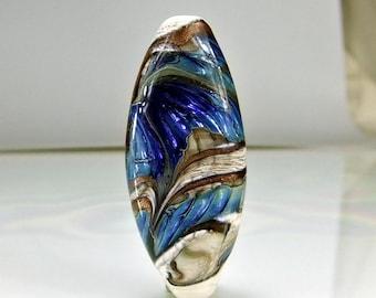 Antique Ivory Blue Goldstone Glass Lampwork Focal Bead