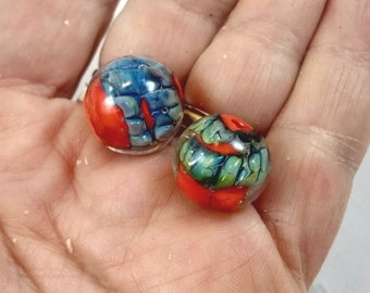 Glass Lampwork Round Beads,Jewelry Supplies,Earring Components,Bright Colors,Bohemian Style,Silvered Recuction Glass,Clear Encased,Artisan