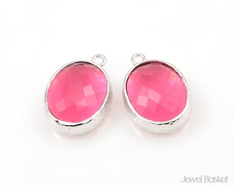 Ruby Color and Silver Framed Glass Oval Pendent - 2pcs Ruby Glass Pendant, Earrings Pendant / 12 x 16mm / SRES009-P
