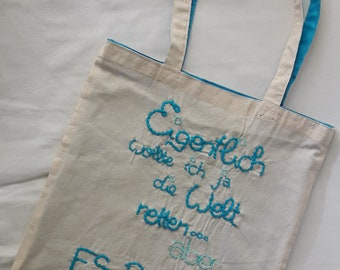 "Shopping Bag-""It's raining""-embroidered carrying bag"