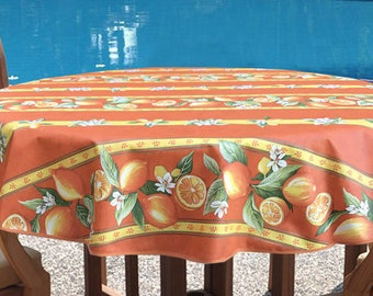 "Round Tablecloth 42 - 60"" French Provence Laminated Coated Lemons in Orange  -Extra Wide sizes & Umbrella hole available"