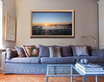 Sunrise Photography- Welcome Back, Beach Photo, Large Wall Art, Coastal Decor, New England, Ocean Photography, Nautical, Clouds, reflection
