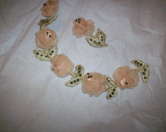Exceptional and rare perfectly pale pink antique authentic ribbon work