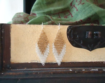 Sterling Silver and Brass Chevron Chainmail Earrings