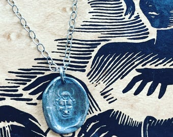Sterling Silver Charm, Devil or 3 Faced Man, Antique Intaglio Wax Seal