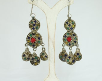 Vintage Moroccan Colorful Enamel Chandelier Earrings