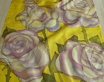 Yellow silk scarf with pale pink/ white roses, hand painted silk scarf OOAK romantic floral scarf for ladies, batik art on silk