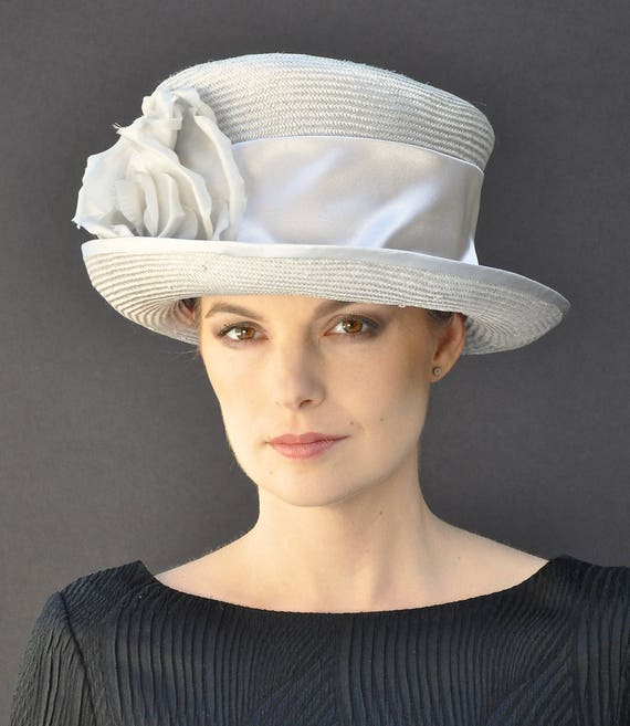Derby Hat, Wedding Hat, Formal Hat, Ascot Hat, Church Hat, Gray taupe hat, Occasion Hat, mother of bride hat