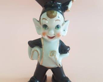 Ceramic Elf Figurine Graduate - Pointy Ears - 1950's Mid Century Vintage - Pixie Japan