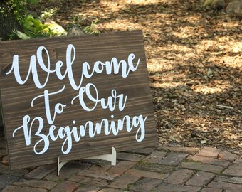 Welcome to our Beginning Wedding Sign, Welcome Sign, Wedding Sign, Rustic Wedding, Outdoor Wedding