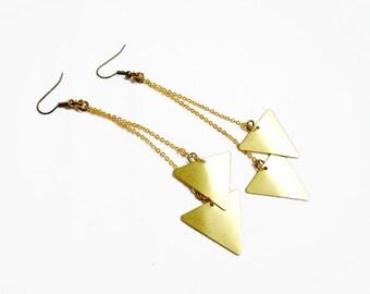 Triangle Geometric Earrings - Minimalist Arrow Handmade Earrings, Raw Brass Geometric Earrings
