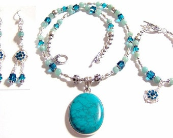 Turquoise Pendant Swarovski Crystal Amazonite Full Set Includes Statement Necklace Bracelet and matching Earrings too