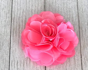 Hair Flower Clip - Passion Pink Satin Mesh Hair Flower Clip - Bun Flower - Hair Flower