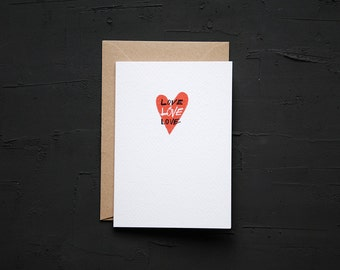 Love Heart - Love Card - Anniversary Card - Birthday Card - Note Card - Blank Card - Cards