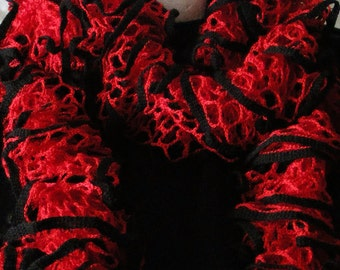 Red and Black Ruffled Scarf