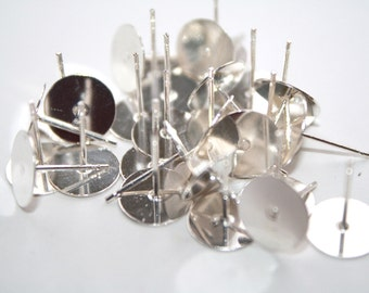 Earring Post Blanks Silver Tone -10mm - 30ct - #196