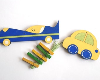 Children's  Artwork display hanger- Cars - Yellow, Blue and Green transportation wall art for Boys - kids wall decor hangers