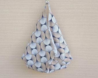 Beach Bag, Hobo Slouch Bag, Bento Origami Bag, Black & Brown Retro Style Bag, Japanese Style Bag, Unique Summer Bag, Large Market Bag