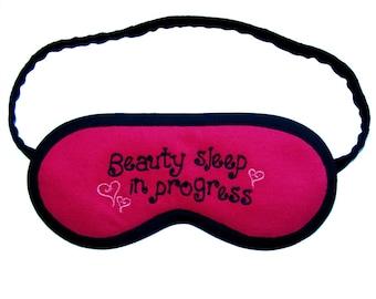 """Eye Mask """"Beauty sleep in progress"""", heart sleep mask, text sleeping eye mask, Black typography embroidered sleepmask, pink cotton nightwear"""