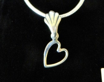 "Tiny Treasures  All Sterling Heart Necklace  on 16"" Chain"