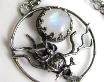 Howl at the Moon Necklace - Sterling SIlver and Moonstone - Made to Order