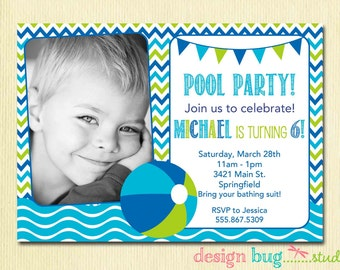 Our lil man mustache 2 photo birthday party invitation boy or girl pool party invitation pink or blue chevron photo birthday invitation beach ball any age stopboris Choice Image
