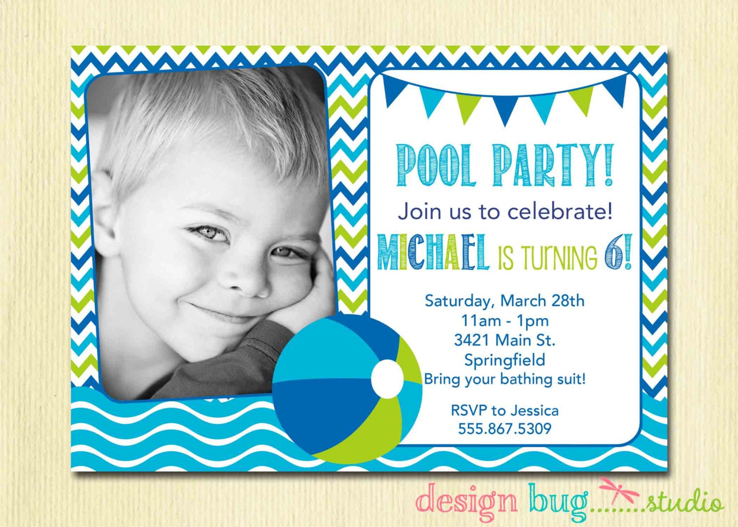Boy or Girl Pool Party Invitation Pink or Blue Chevron