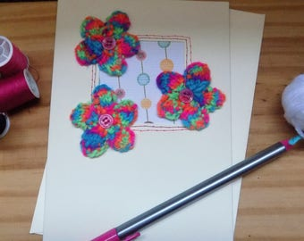 Knitted Flower Greetings Card, Knitted Bright Flower Card, Birthday card, thank you card