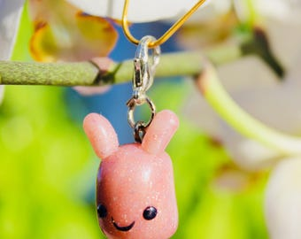 Rose Gold Bunny with Glitter, Kawaii Cute style Polymer Clay Miniature Charm Sculpture, Keychain