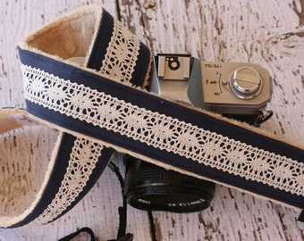 Camera Strap.  Cute Camera Strap.  dSLR Camera Strap.  Linen and Lace Camera Strap.  Padded Camera Strap.  Digital Camera Strap.