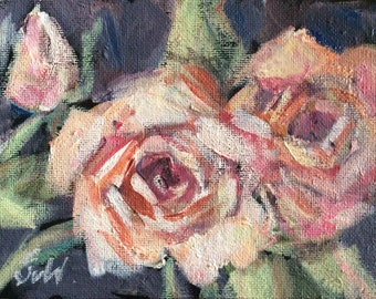 """Roses Flowers Painting Original Floral Painting 5 x 7"""""""