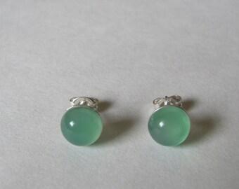 Green Chalcedony Stud Earrings, Sterling Silver Studs, Green Earrings, Green Gemstone Earrings