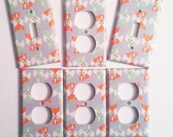 Fox nursery decor - Fox Light Switch Cover - Mint Nursery - Fox Decor - Woodland room decor - Woodland art - Woodland nursery - Fox wall art