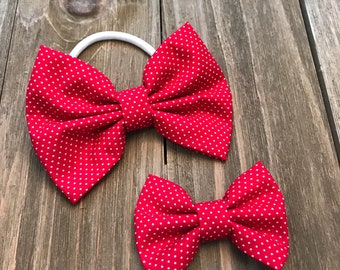 Red Bow, Red Headband, Red Baby Headband, Red Clip, Fabric Bow, Red Dot Bow, Nylon Bow