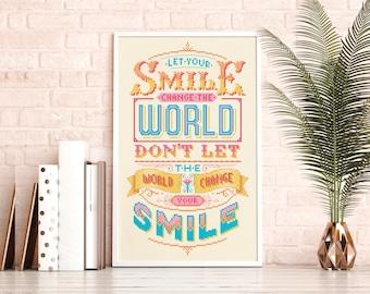 Let your smile change the world- Cross Stitch Pattern (Digital Format - PDF)