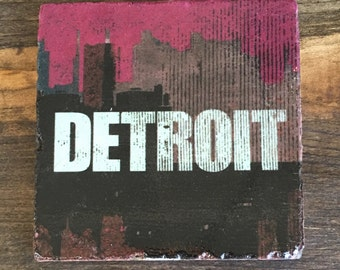 Detroit skyline distressed logo in Maroon, Coaster with cork backing