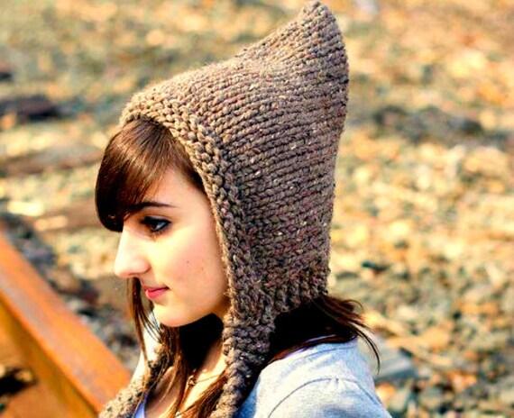 Knit Hat Brown Womens Hat Brown Pixie Hat Barley Brown Knit