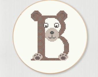 Cross stitch letter B Bear pattern, instant digital download