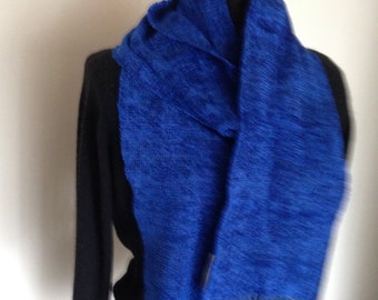 Handwoven blueberry rayon chenille scarf