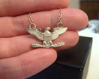 Eagle Military Sterling Pendant Necklace Authentic Vintage Artisan Altered Pin 18 Inches Hallmarked