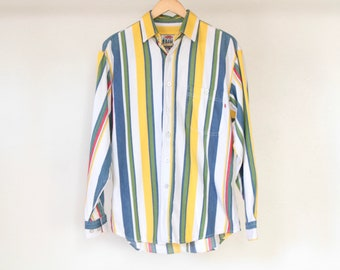 90s vertical STRIPED pastel TLC denim color block oxford button up shirt