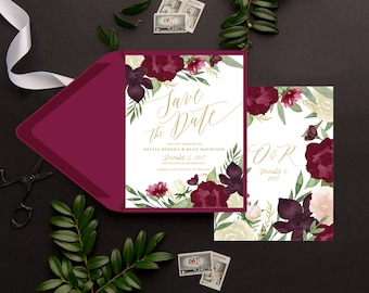 save the date cards burgundy and gold save the dates burgundy wedding stationery floral boho save the date printed cards with envelopes