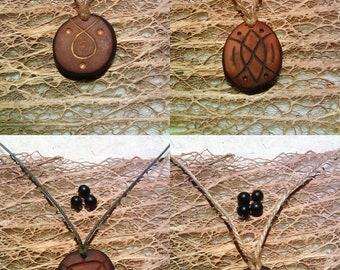 Lines and Points / Avocado stone necklace , avocado pit pendant , seed carving / natural jewelry , handcraft